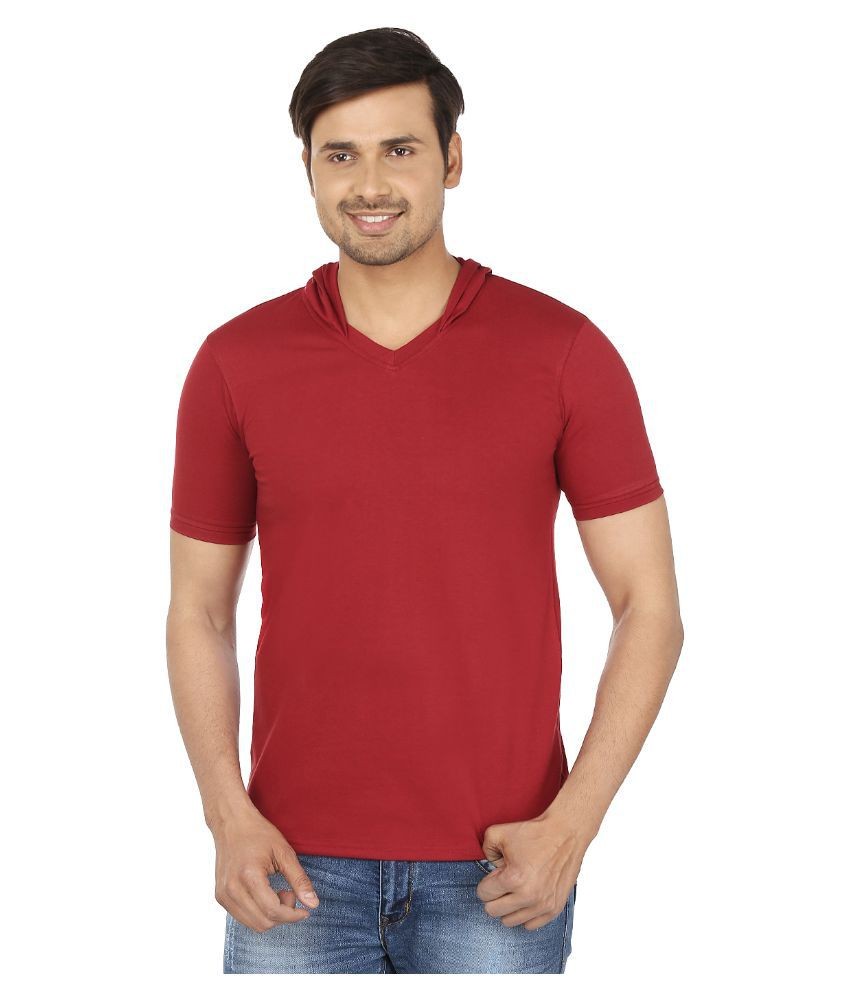 Jangoboy Maroon Hooded T Shirt