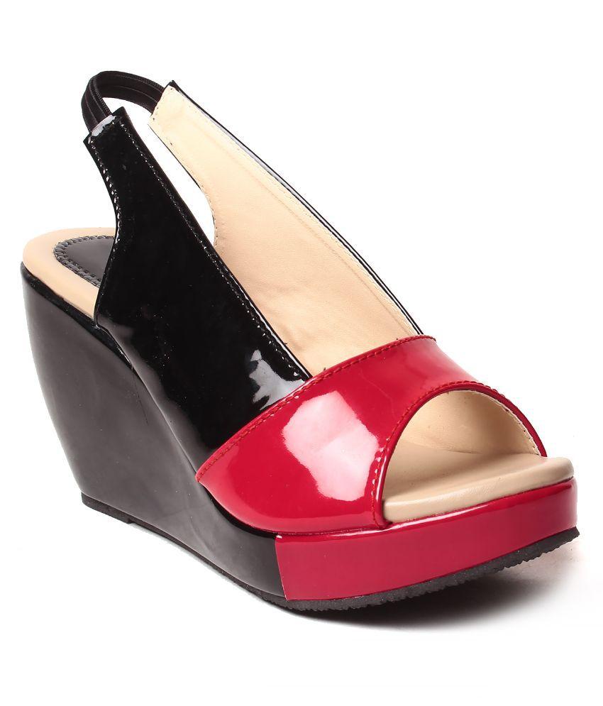 Ladies Zone Black Platforms Heels