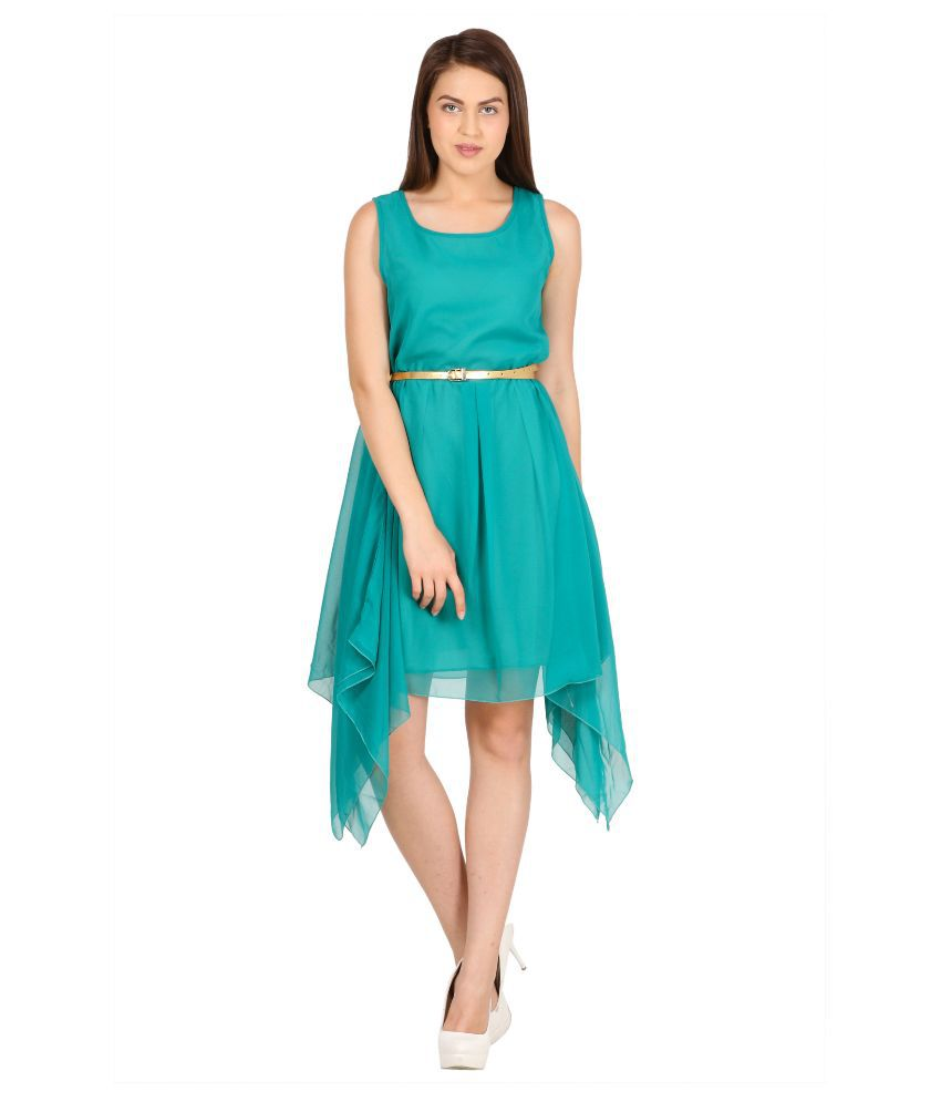Pretty Angel Turquoise Poly Georgette Dresses