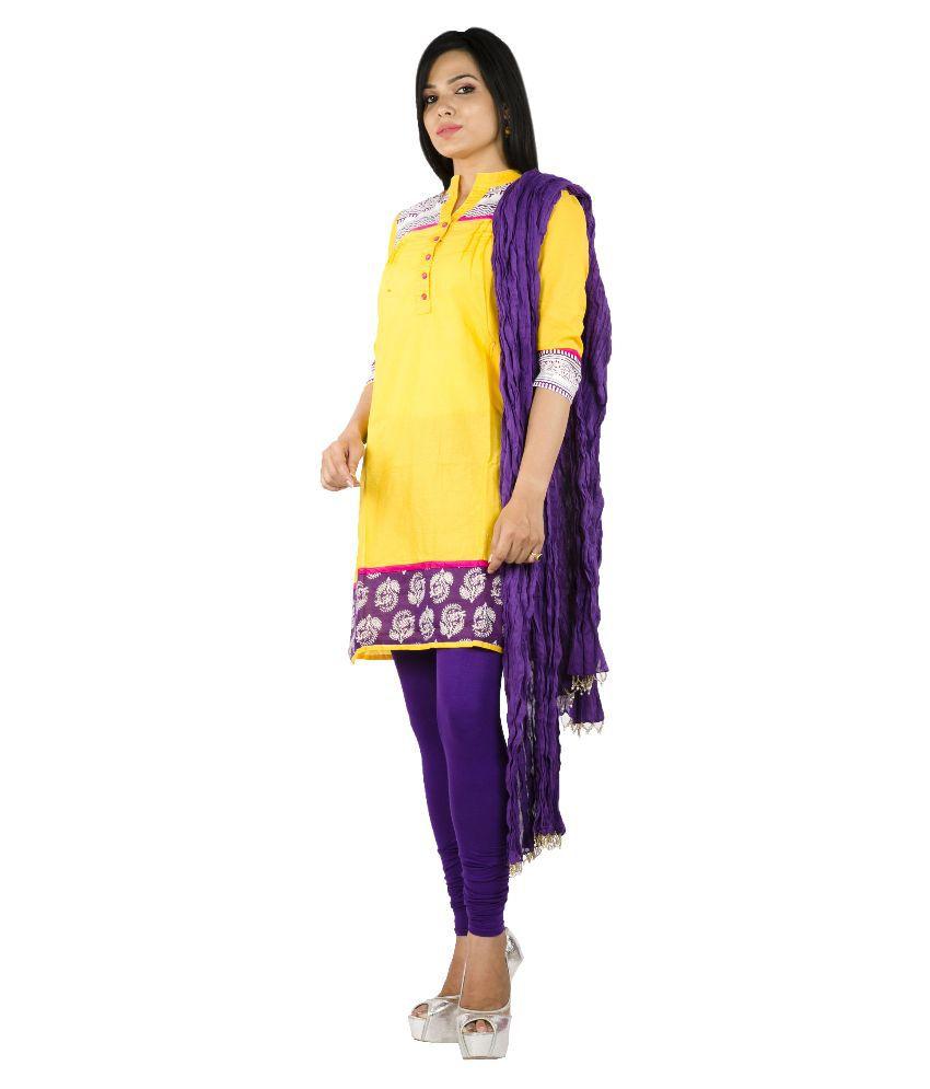 Rama Yellow Cotton Anarkali Stitched Salwar Suit