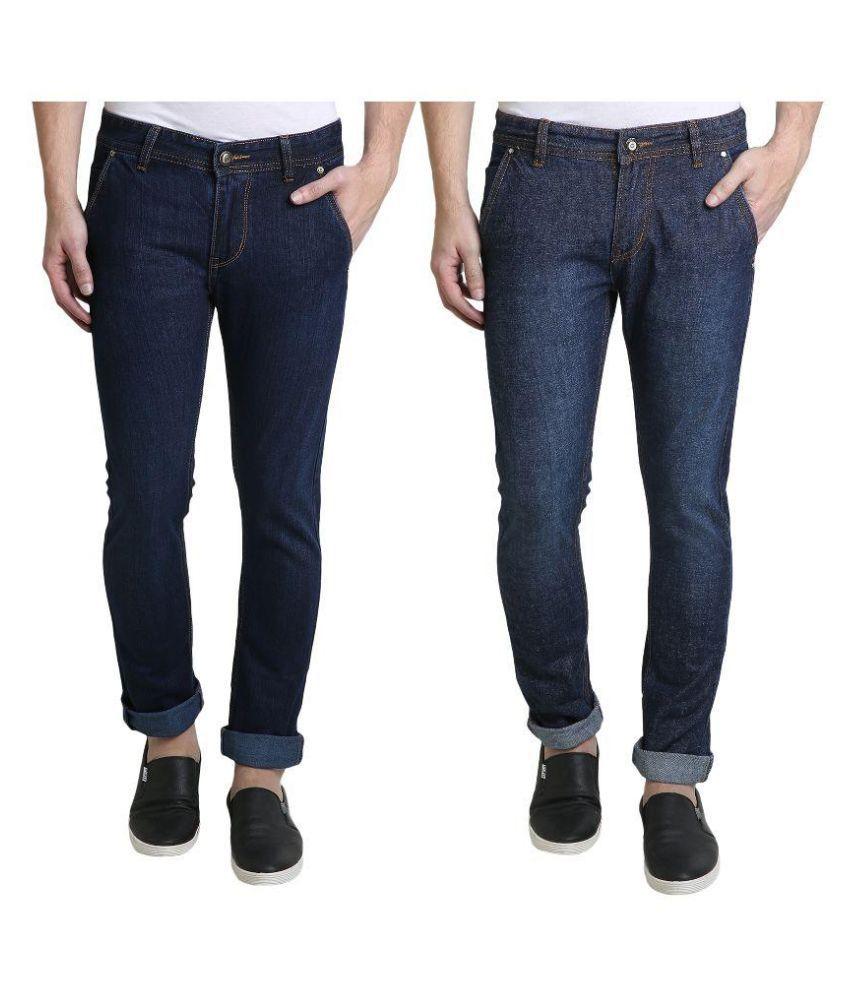 Denim Cafe Navy Slim Fit Solid Jeans Pack of 2