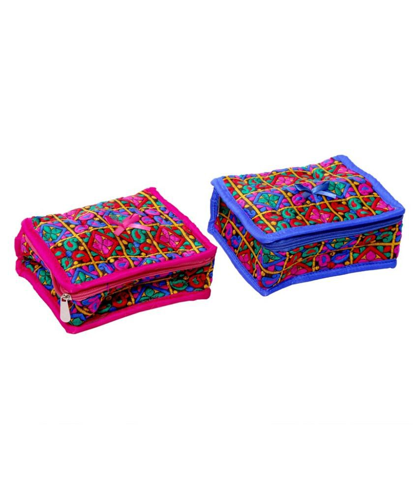 Kuber Industries Fabric Studded Multi Coloured Jewellery Box