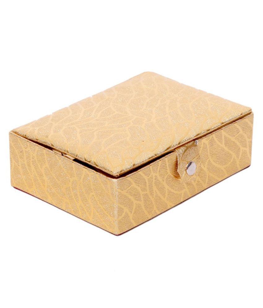 Kuber Industries Golden Fabric Multipurpose Jewellery Box