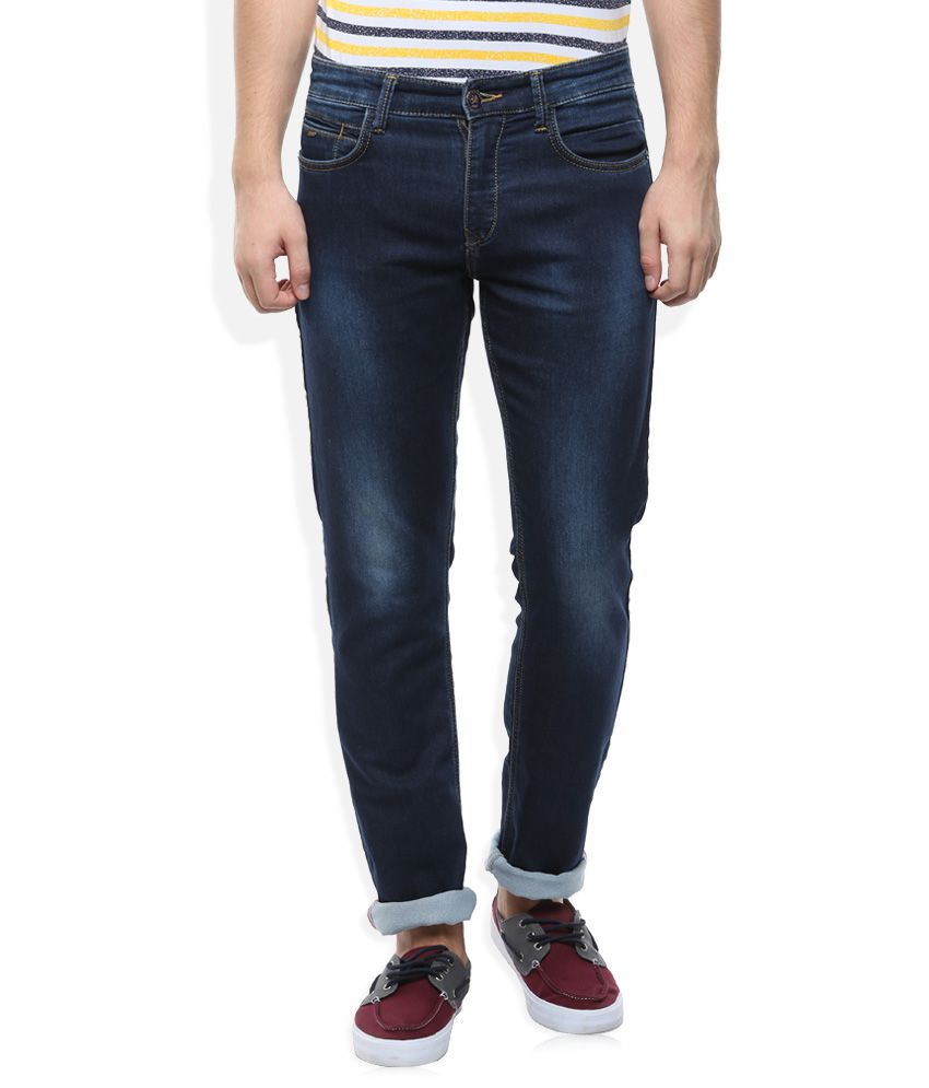 Monte Carlo Blue Slim Fit Faded Jeans