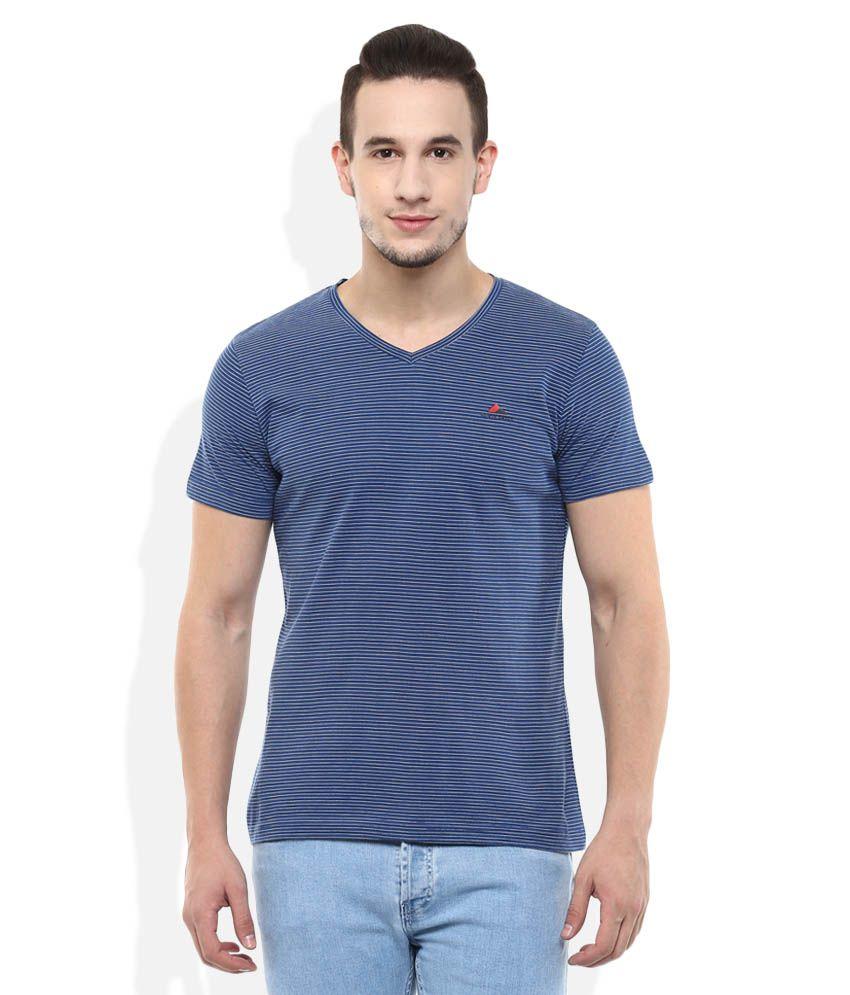 Monte Carlo Blue V-Neck Stripers T-Shirt