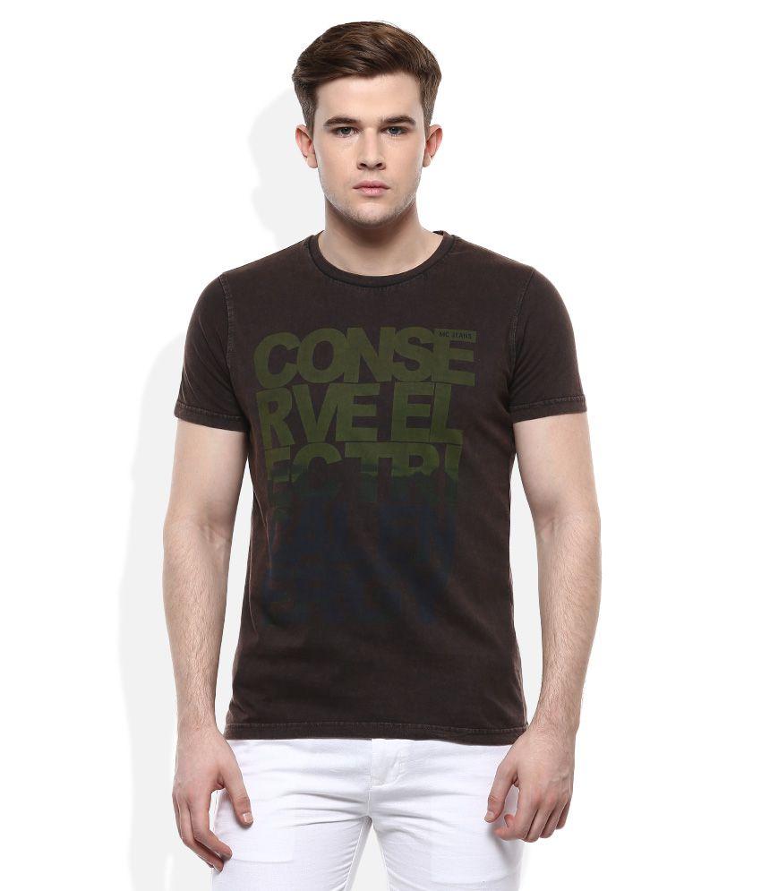 Monte Carlo Brown Round Neck Printed T-Shirt