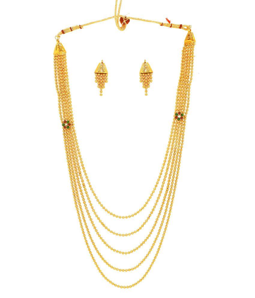 40f8a60cbd2 Zaveri Pearls Multistring Antique Gold Balls Haram - ZPFK1915
