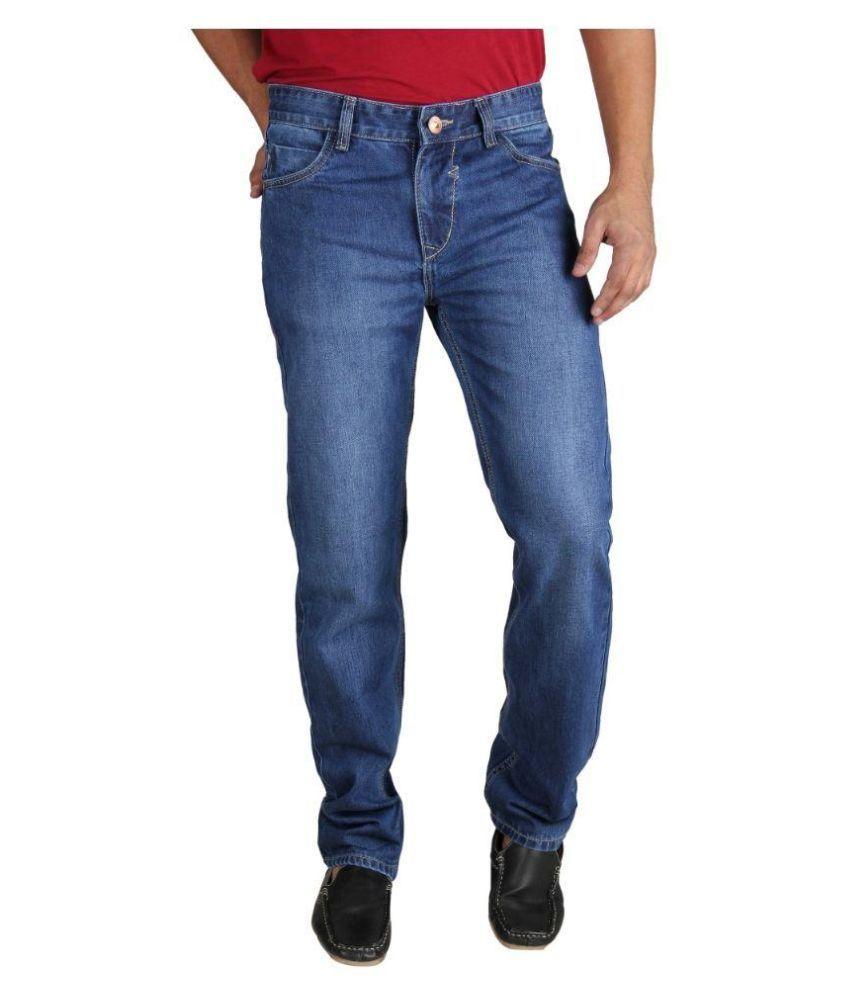 Fever Blue Regular Fit Washed Jeans