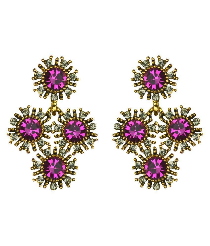 Glitters Online Pink Stone Designer American Diamond Stone Fashion Earring
