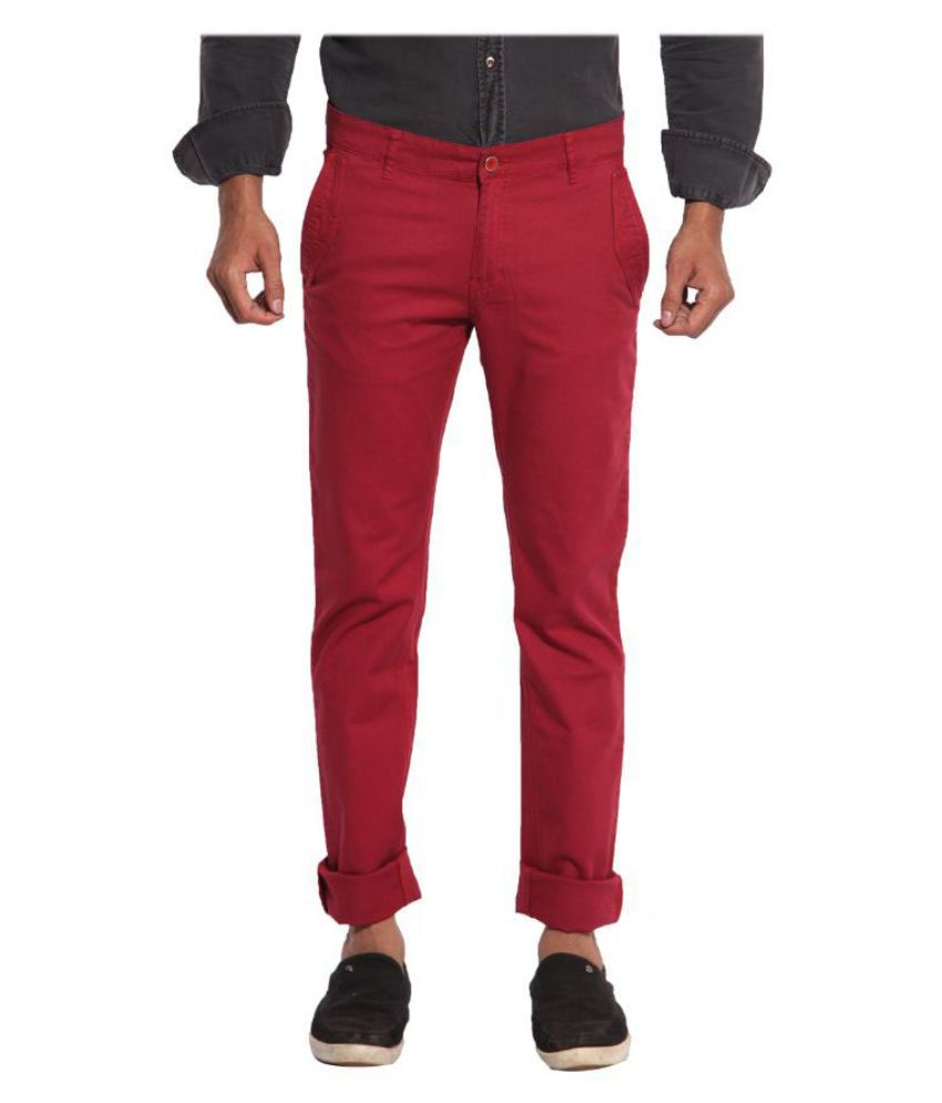 Inego Red Slim Fit Chinos TROUSERS