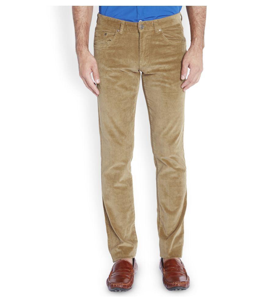 Parx Beige Regular Fit Flat Trousers