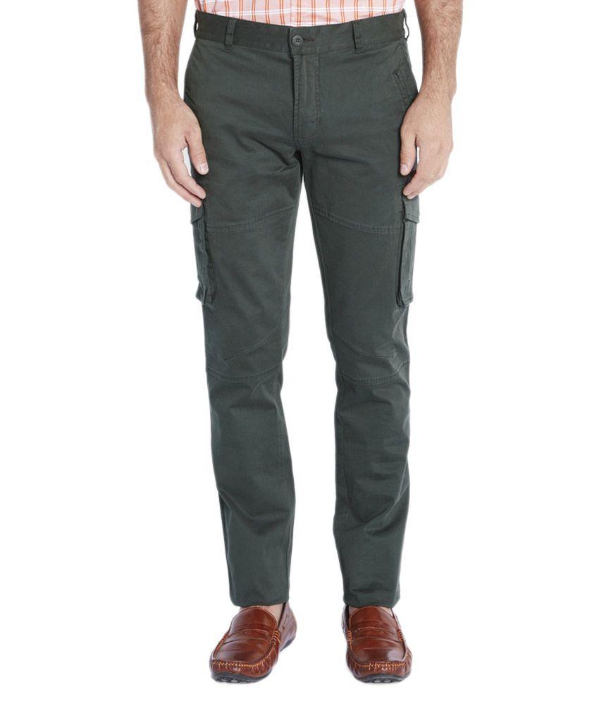 Parx Green Regular Fit Flat Trousers