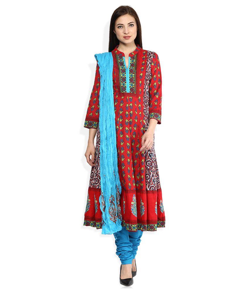 Rain & Rainbow Red Cotton Salwar Suit