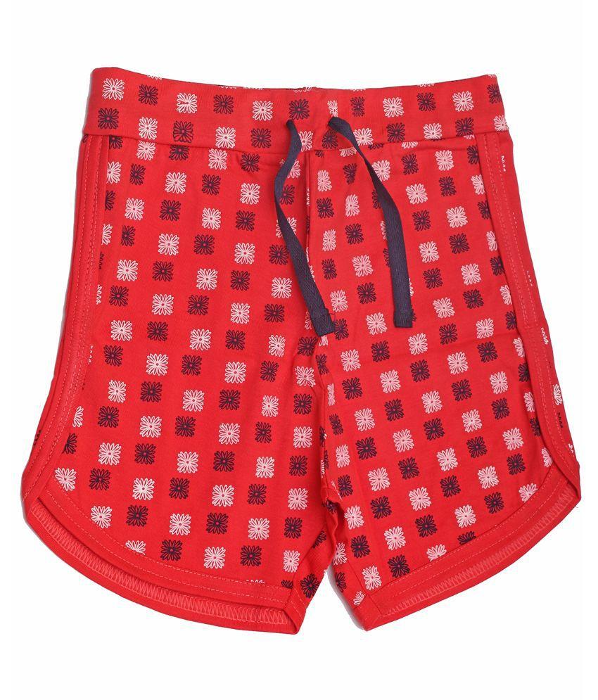 Babeezworld Red Cotton Shorts