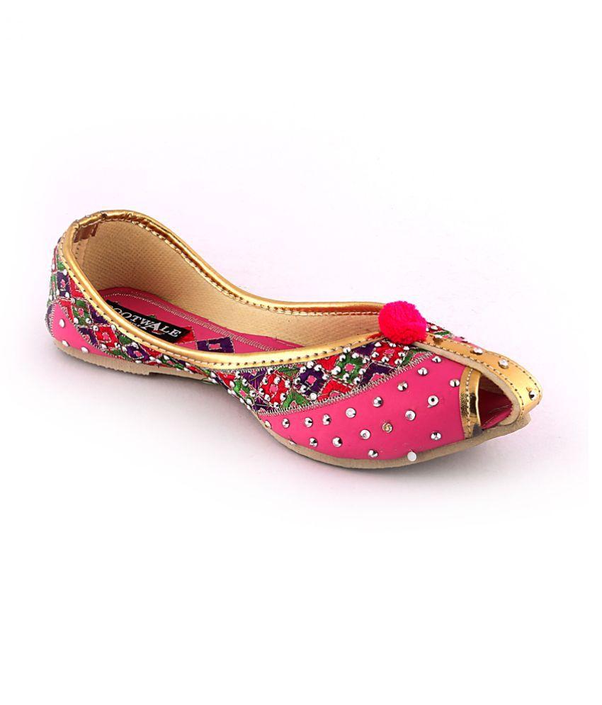 Bootwale Pink Ethnic Footwear