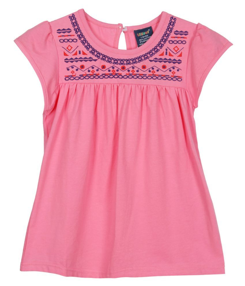 Lilliput Pink Cotton Tops For Girls