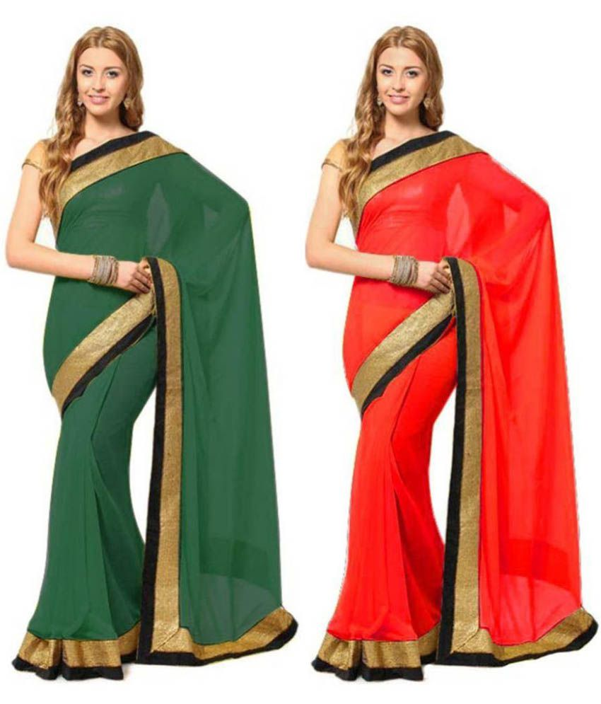 Pay & Smile Multicoloured Georgette Saree Combos