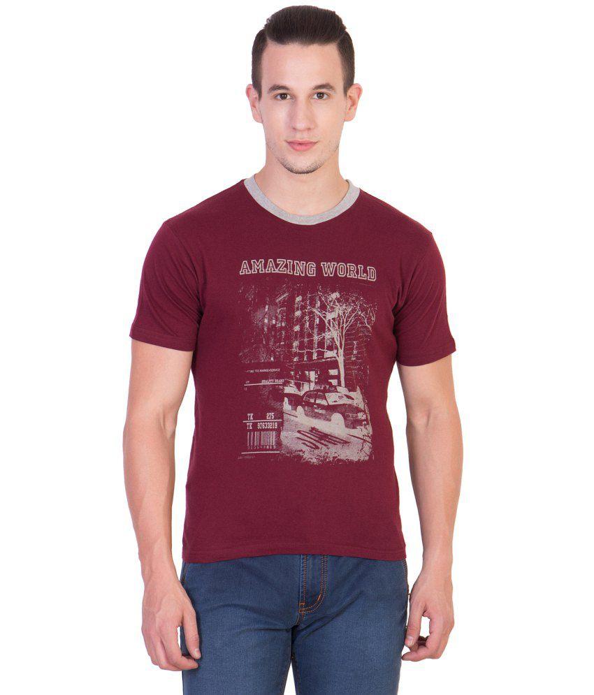 Xscape Maroon Round T Shirt