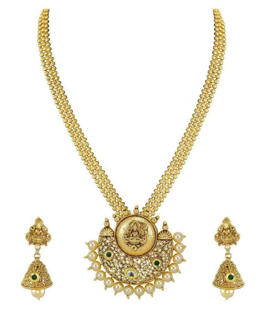 Zaveri Pearls Antique Gold Temple Jewellery Necklace Set with Jhumki Earrings- ZPFK4873