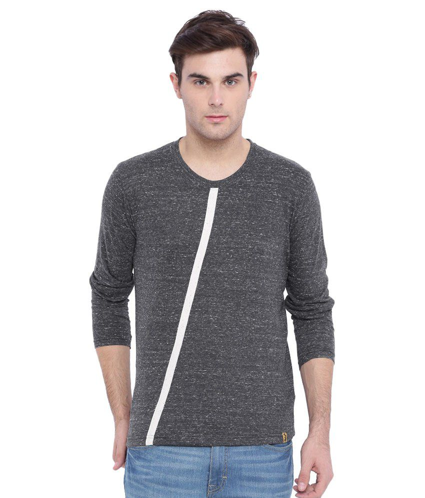 Campus Sutra Grey Round T Shirt