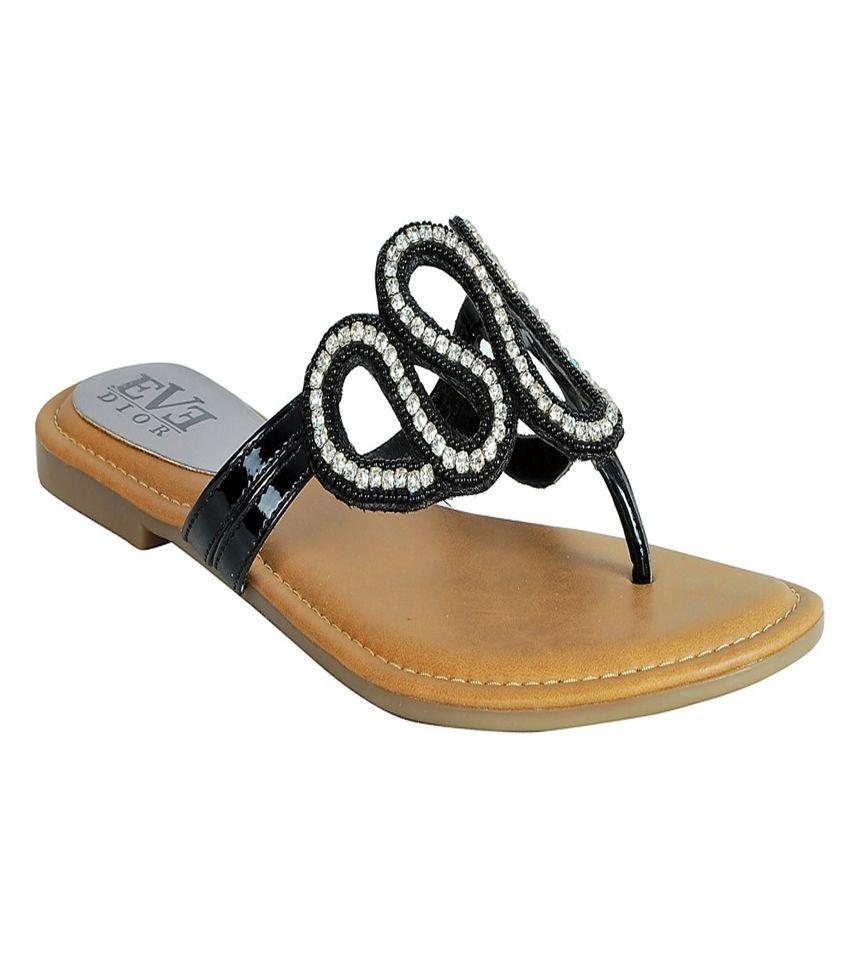 Eve Dior Black Slippers