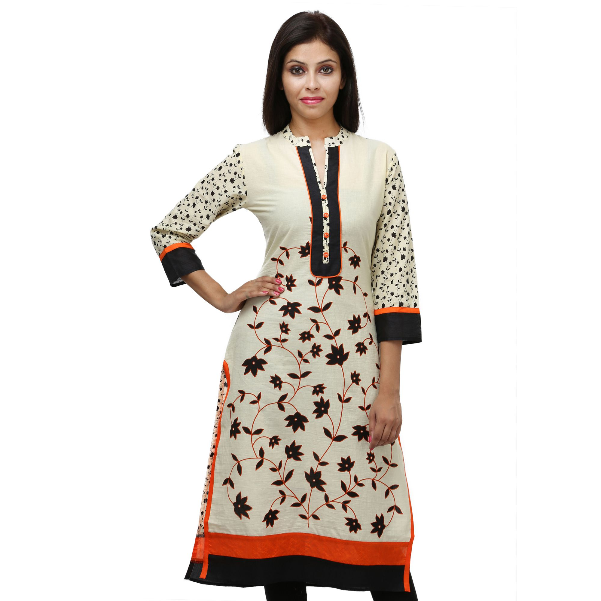 Nikks Fashions Off White Cotton Straight Kurti