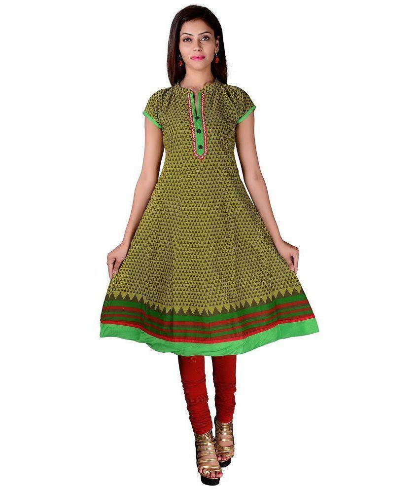 Saini Trading Company Green Cotton A-line Kurti