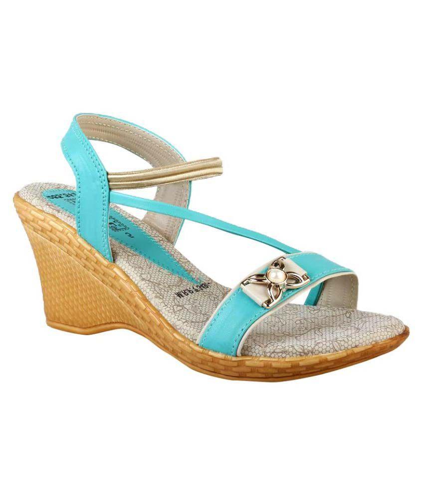Smart Blue Wedges Heels