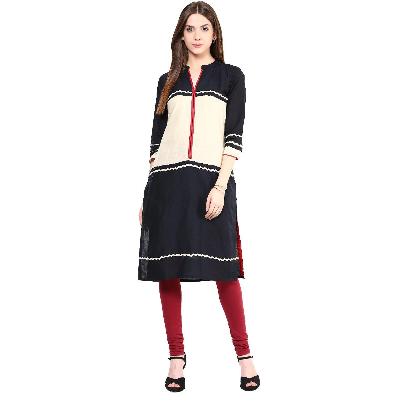 Sringam Black Cotton Straight Kurti