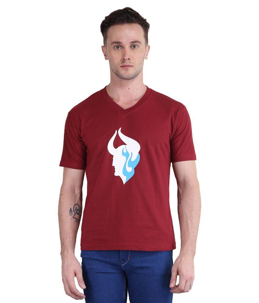 British Terminal Maroon V-Neck T Shirt