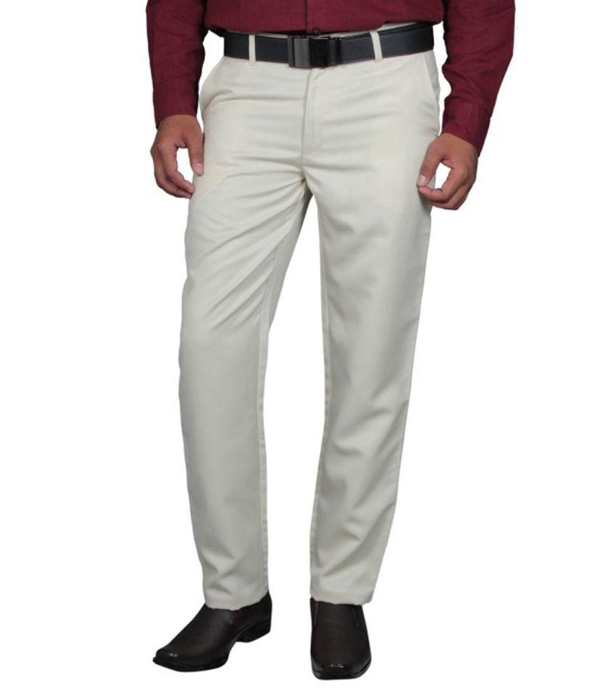 Rich Blue White Slim Fit Flat Trousers