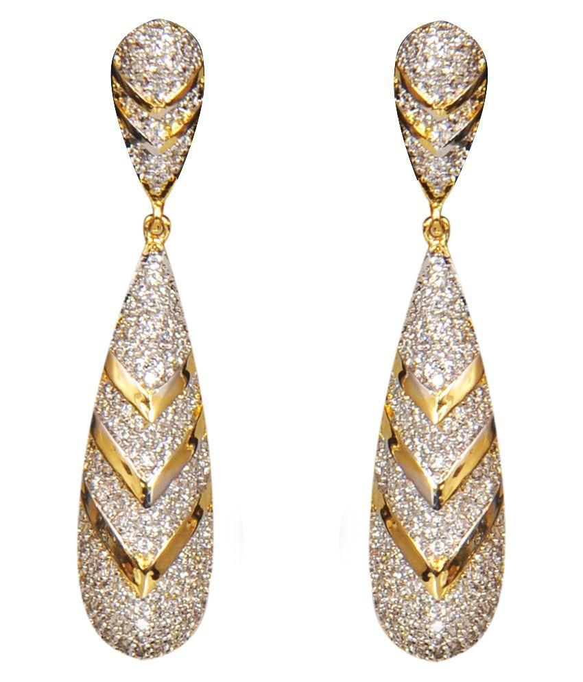 Riddhi Siddhi Br Gold Plating Cubiz Zirconia Studded Coloured Earrings