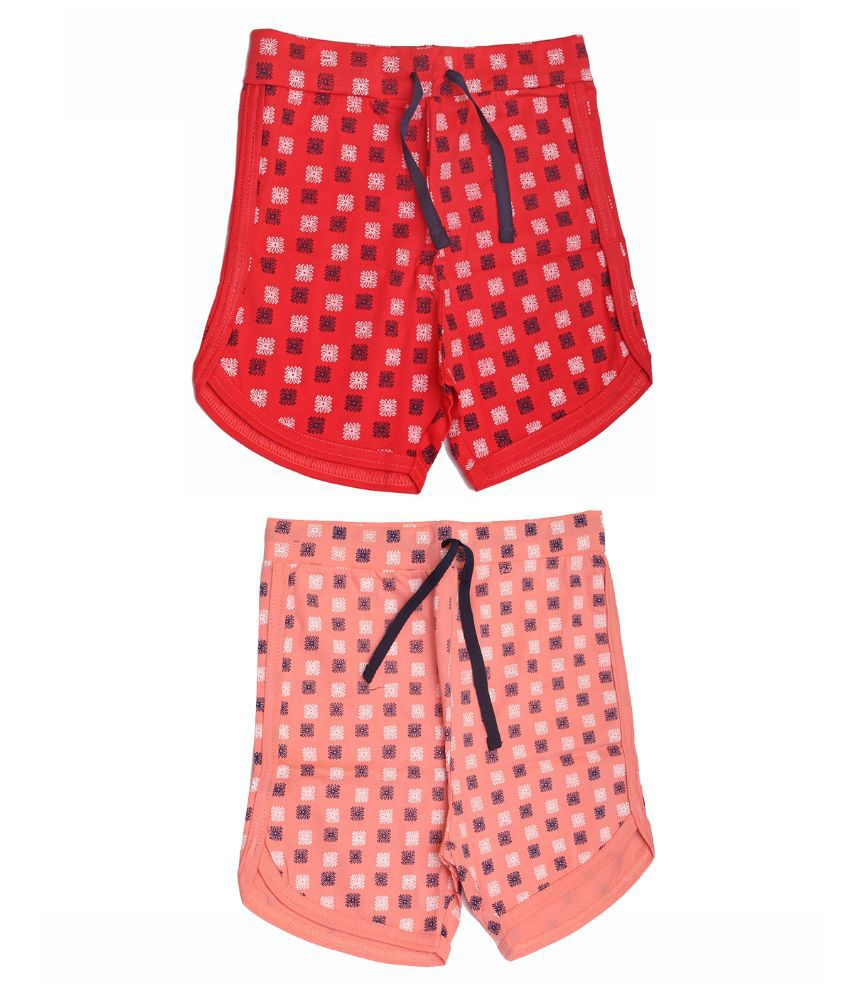 Babeezworld Multicolor Shorts For Girls - Pack Of 2