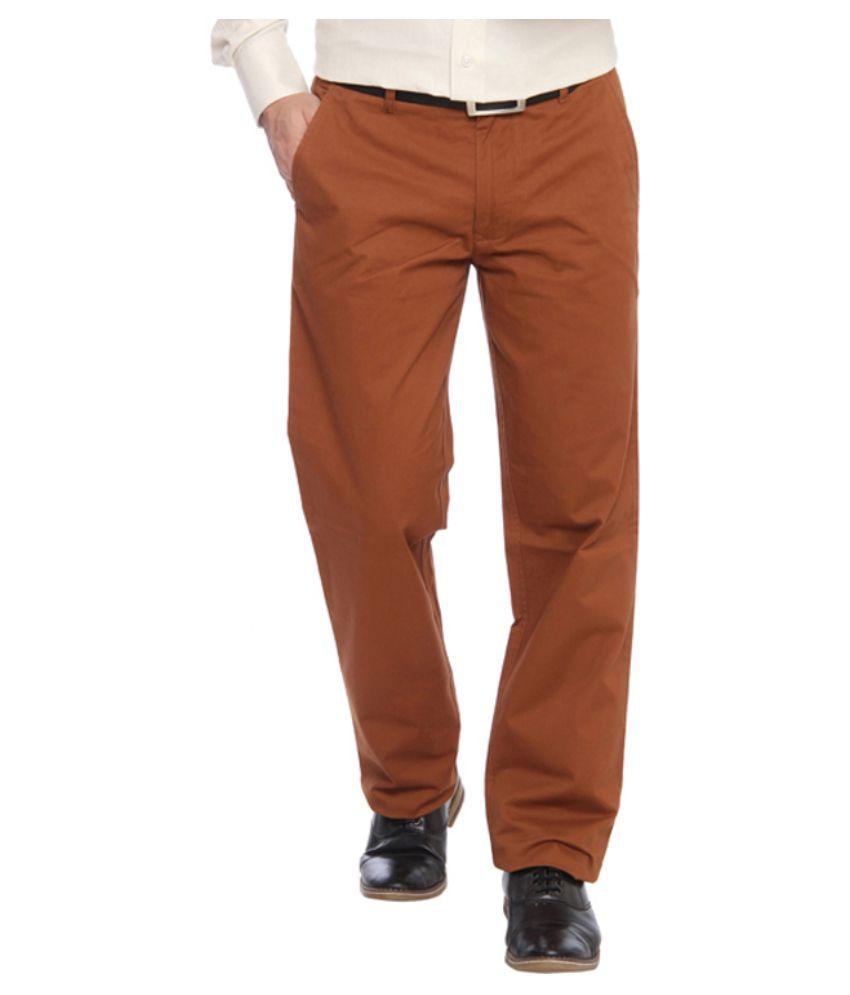ColorPlus Brown Regular Fit Flat Trousers