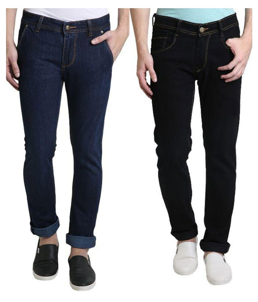 Denim Cafe Blue Slim Fit Solid Jeans Pack of 2