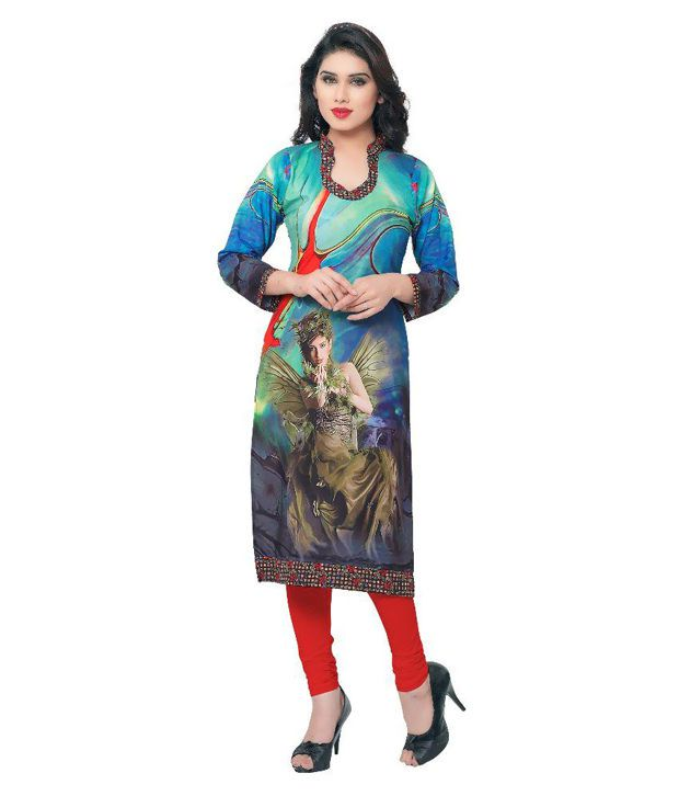 Livaaz Multicoloured Crepe Straight Kurti