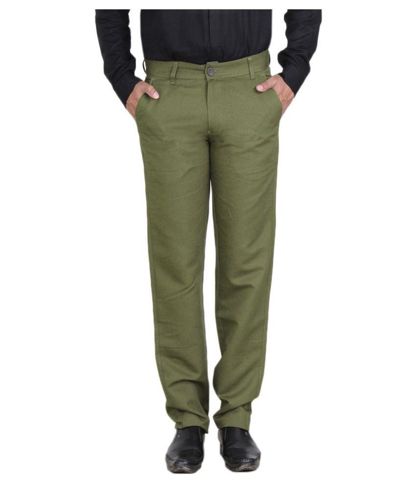 Mark-8 Green Regular Fit Flat Trousers