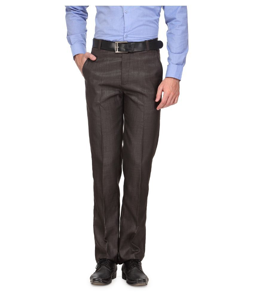 Ausy Brown Slim Fit Flat Trousers
