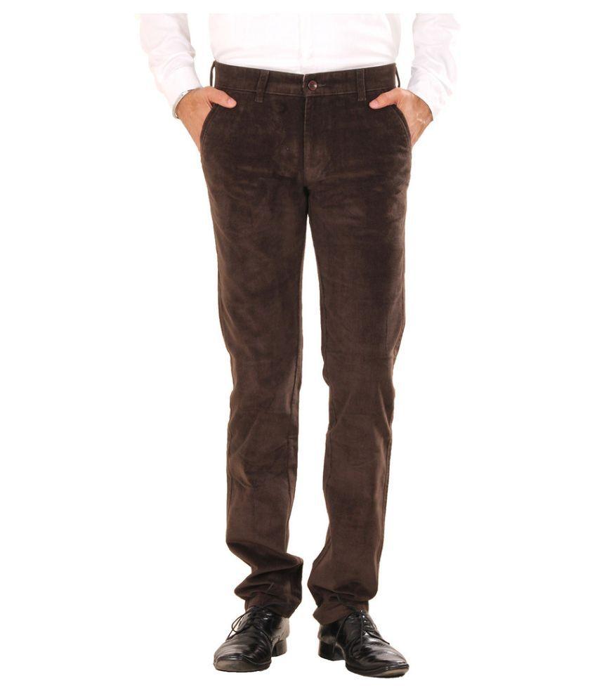 Mark-8 Brown Regular Fit Flat Trousers