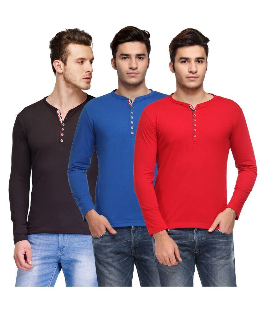 TSX Multi Henley T Shirt Pack of 3