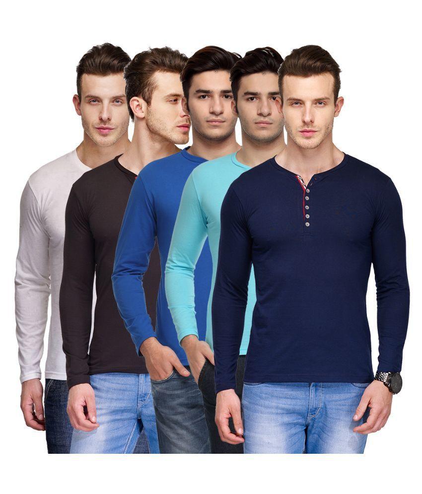 TSX Multi Henley T Shirt Pack of 5
