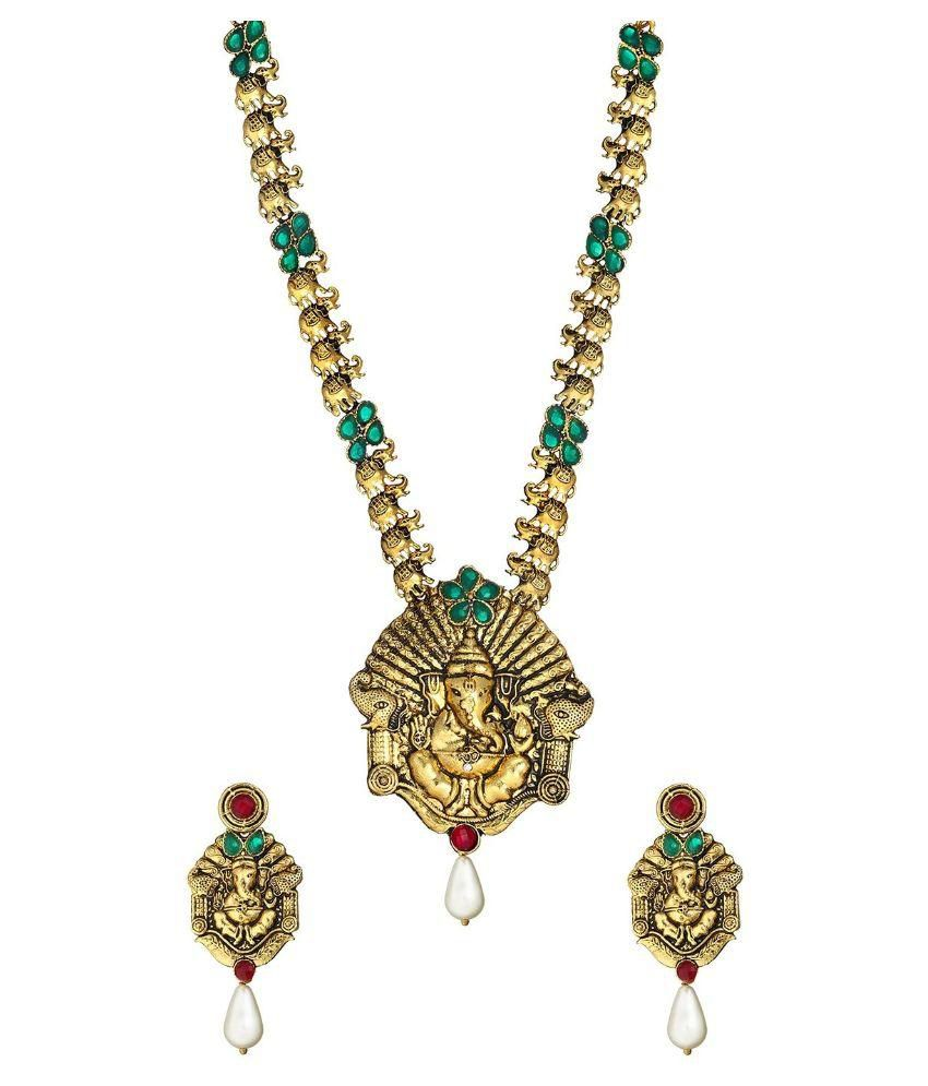 Zaveri Pearls Antique Golden Temple Necklace Set - ZPFK2601