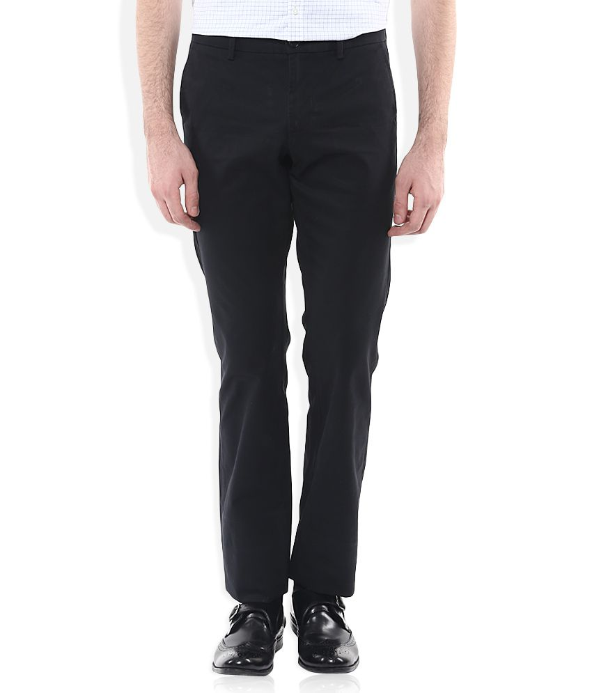 Indian Terrain Black Slim Fit Flat Trousers