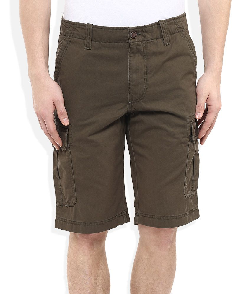 Indian Terrain Brown Solids Shorts