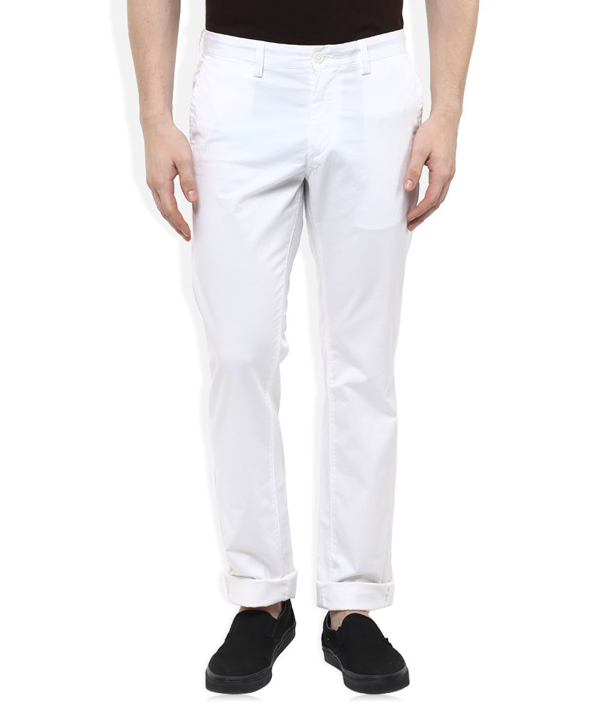 Indian Terrain White Slim Fit Chinos