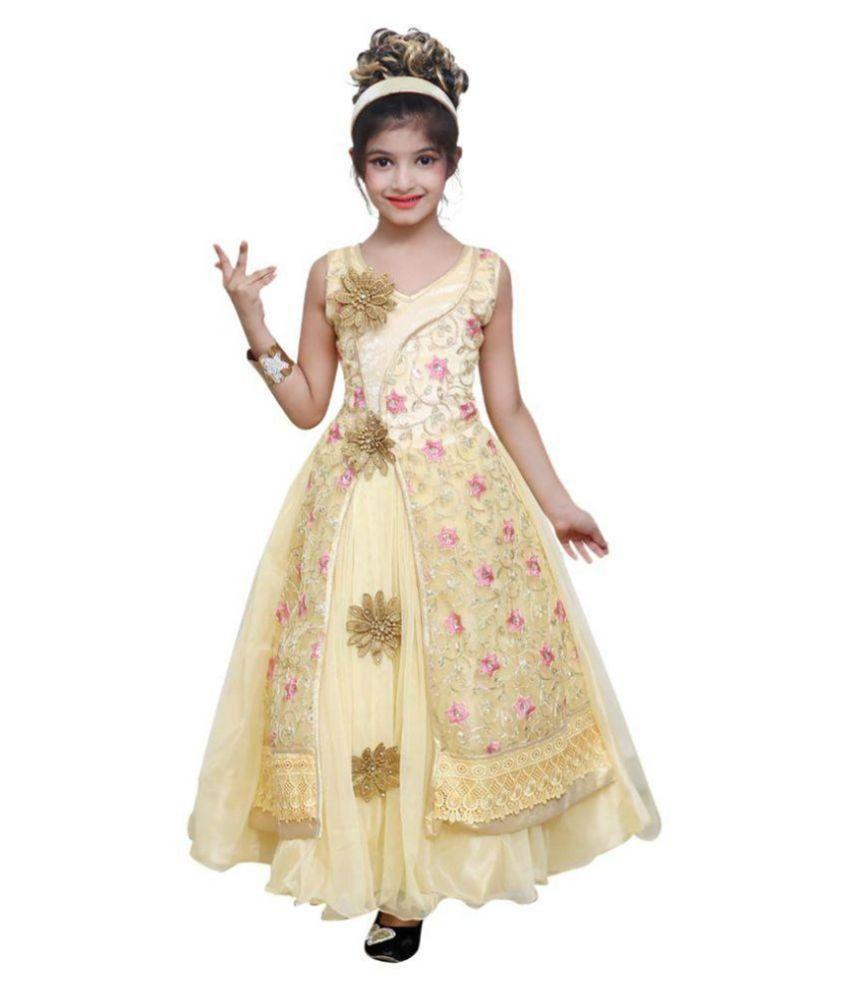 Ishika Garments Beige Net Dress For Girls Buy Ishika