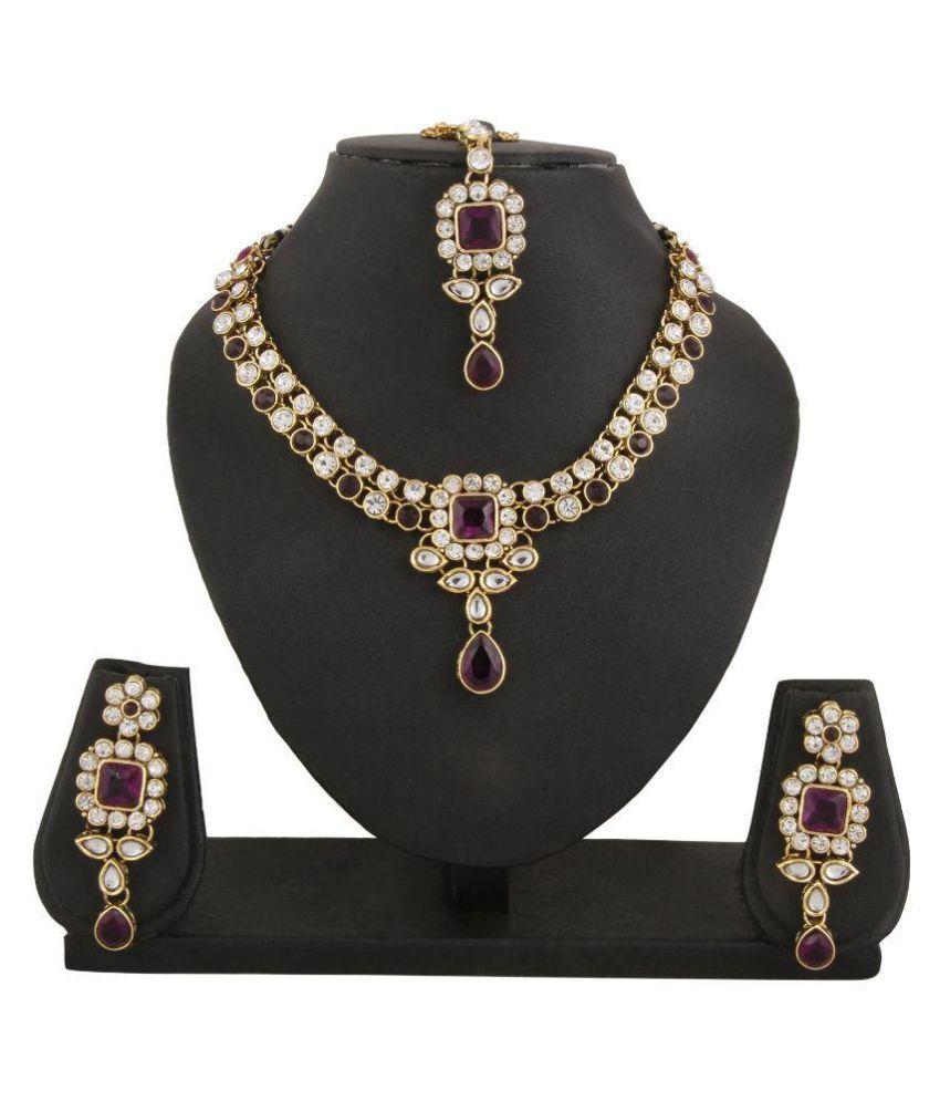 Adoreva Alloy Gold Plating kundan/Meenakari Studded Multi Coloured Necklace set Combo