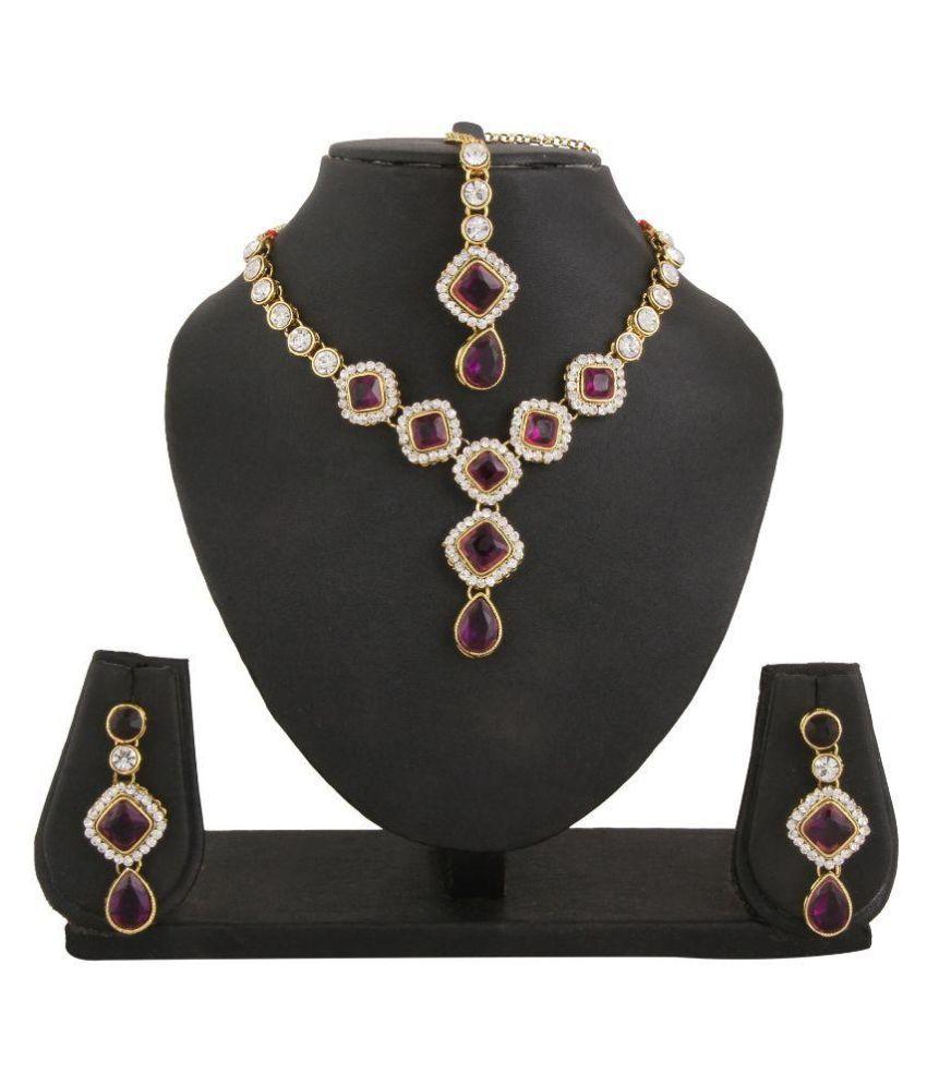 Adoreva Alloy Gold Plating kundan/Meenakari Studded Multi Coloured Necklace set with Maang Tika