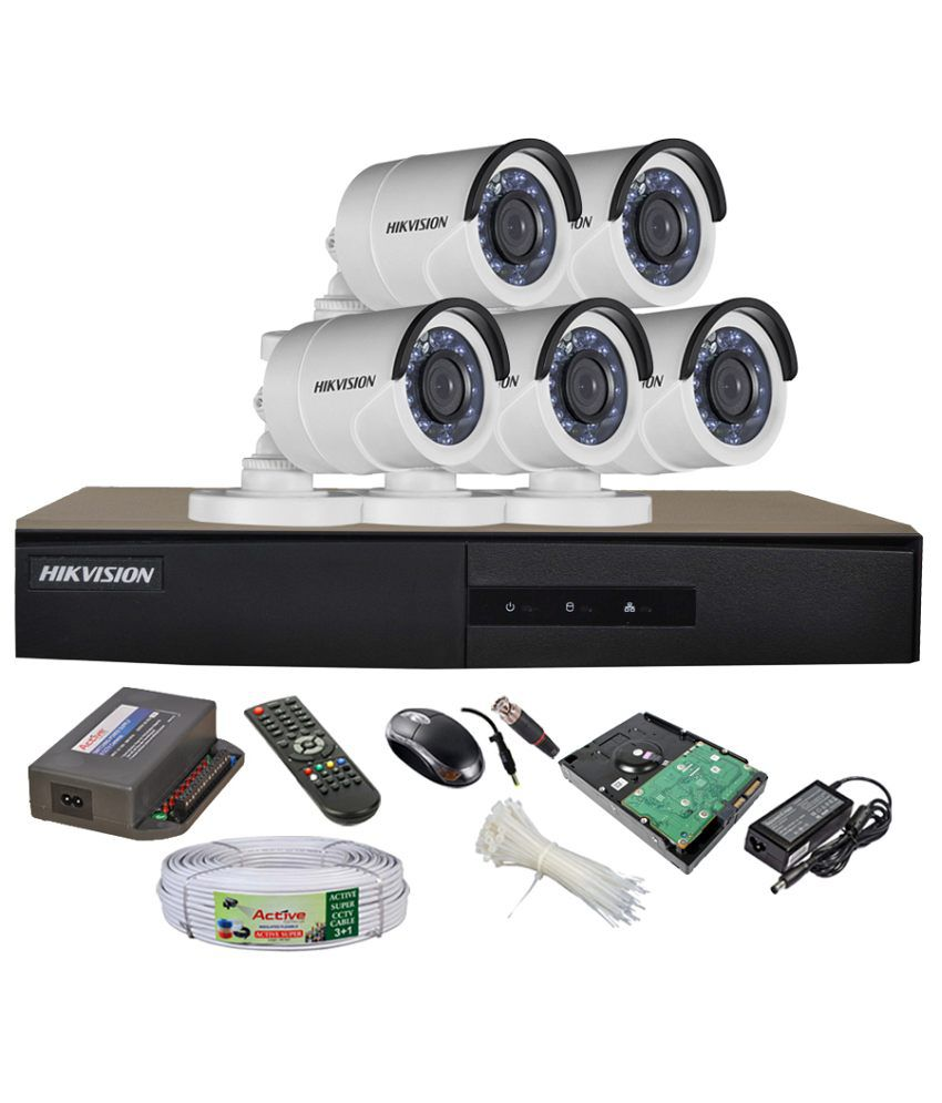 Hikvision-DS-7208HGHI-E1-8CH-Dvr,-5(DS-2CE16COT-IRP)-Bullet-Camera-(With-Mouse,-Remote,-1TB-HDD,-Bnc&Dc-Connectors,Power-Supply,Cable)