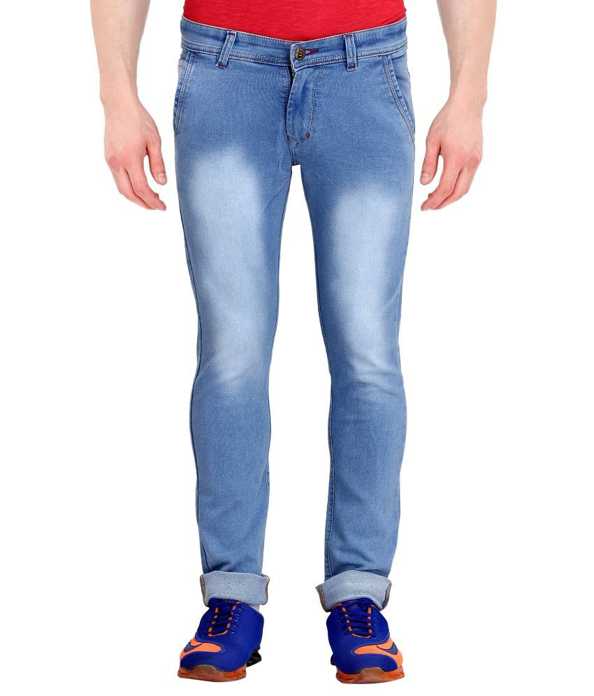 I Lead Blue Regular Fit Faded Jeans